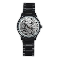 Flower Floral Grey Black Leaf Stainless Steel Round Watch