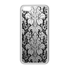 Flower Floral Grey Black Leaf Apple iPhone 5C Seamless Case (White)