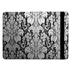 Flower Floral Grey Black Leaf Samsung Galaxy Tab Pro 12.2  Flip Case