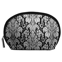 Flower Floral Grey Black Leaf Accessory Pouches (Large)