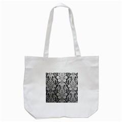 Flower Floral Grey Black Leaf Tote Bag (White)