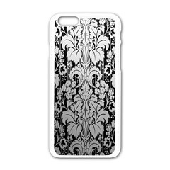 Flower Floral Grey Black Leaf Apple iPhone 6/6S White Enamel Case