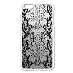 Flower Floral Grey Black Leaf Apple iPhone 6 Plus/6S Plus Enamel White Case