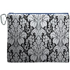 Flower Floral Grey Black Leaf Canvas Cosmetic Bag (XXXL)