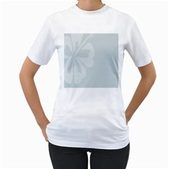 Hibiscus Sakura Glacier Gray Women s T-Shirt (White) (Two Sided)
