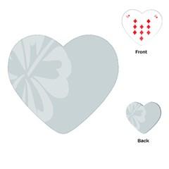 Hibiscus Sakura Glacier Gray Playing Cards (Heart)