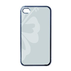 Hibiscus Sakura Glacier Gray Apple iPhone 4 Case (Black)