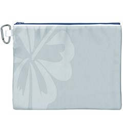 Hibiscus Sakura Glacier Gray Canvas Cosmetic Bag (XXXL)