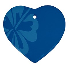 Hibiscus Sakura Classic Blue Ornament (Heart)