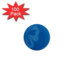 Hibiscus Sakura Classic Blue 1  Mini Magnets (100 pack)