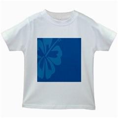 Hibiscus Sakura Classic Blue Kids White T-Shirts