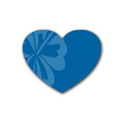 Hibiscus Sakura Classic Blue Heart Coaster (4 pack)