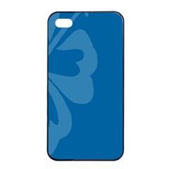 Hibiscus Sakura Classic Blue Apple iPhone 4/4s Seamless Case (Black)