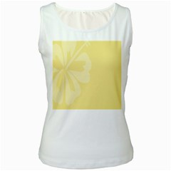 Hibiscus Custard Yellow Women s White Tank Top