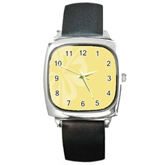 Hibiscus Custard Yellow Square Metal Watch