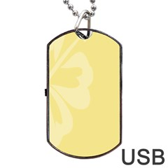 Hibiscus Custard Yellow Dog Tag USB Flash (One Side)