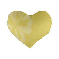Hibiscus Custard Yellow Standard 16  Premium Flano Heart Shape Cushions