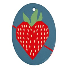 Fruit Red Strawberry Ornament (Oval)