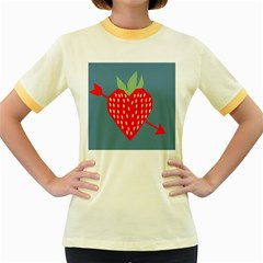 Fruit Red Strawberry Women s Fitted Ringer T-Shirts