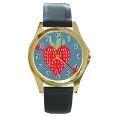 Fruit Red Strawberry Round Gold Metal Watch