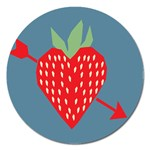 Fruit Red Strawberry Magnet 5  (Round) Front