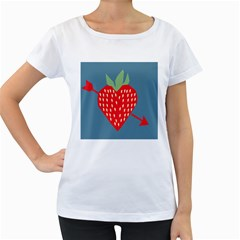 Fruit Red Strawberry Women s Loose-Fit T-Shirt (White)