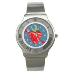 Fruit Red Strawberry Stainless Steel Watch