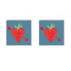 Fruit Red Strawberry Cufflinks (Square)