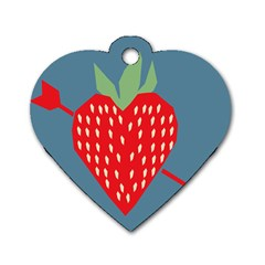 Fruit Red Strawberry Dog Tag Heart (Two Sides)