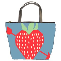 Fruit Red Strawberry Bucket Bags