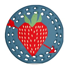 Fruit Red Strawberry Round Filigree Ornament (Two Sides)
