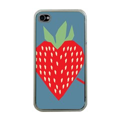 Fruit Red Strawberry Apple iPhone 4 Case (Clear)