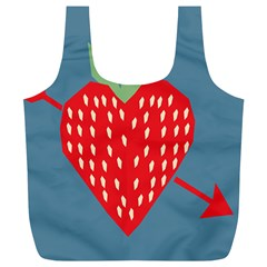 Fruit Red Strawberry Full Print Recycle Bags (L)