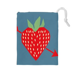 Fruit Red Strawberry Drawstring Pouches (Large)