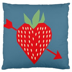 Fruit Red Strawberry Large Flano Cushion Case (One Side)