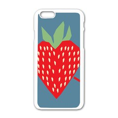 Fruit Red Strawberry Apple iPhone 6/6S White Enamel Case