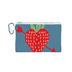 Fruit Red Strawberry Canvas Cosmetic Bag (S)