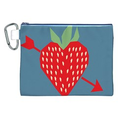 Fruit Red Strawberry Canvas Cosmetic Bag (XXL)