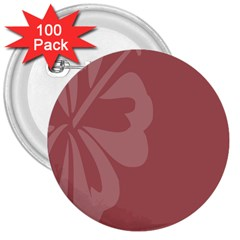 Hibiscus Sakura Red 3  Buttons (100 pack)