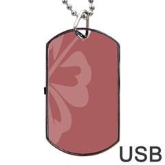 Hibiscus Sakura Red Dog Tag USB Flash (Two Sides)