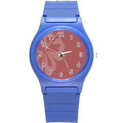 Hibiscus Sakura Red Round Plastic Sport Watch (S)