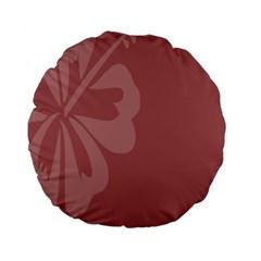 Hibiscus Sakura Red Standard 15  Premium Flano Round Cushions