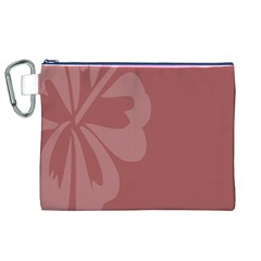 Hibiscus Sakura Red Canvas Cosmetic Bag (XL)