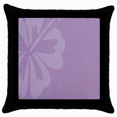 Hibiscus Sakura Lavender Herb Purple Throw Pillow Case (Black)
