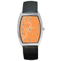 Hibiscus Sakura Tangerine Orange Barrel Style Metal Watch