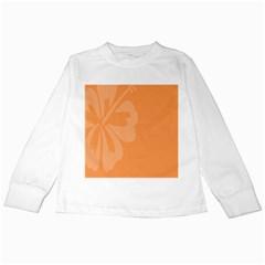 Hibiscus Sakura Tangerine Orange Kids Long Sleeve T-Shirts