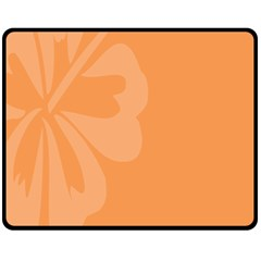 Hibiscus Sakura Tangerine Orange Fleece Blanket (Medium)