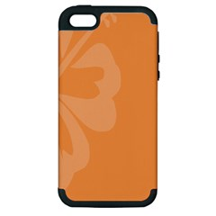 Hibiscus Sakura Tangerine Orange Apple iPhone 5 Hardshell Case (PC+Silicone)