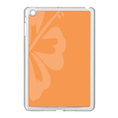 Hibiscus Sakura Tangerine Orange Apple iPad Mini Case (White)
