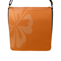 Hibiscus Sakura Tangerine Orange Flap Messenger Bag (L)